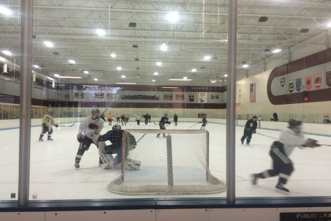 The hockey team practices in preparation for a game against Shakopee.