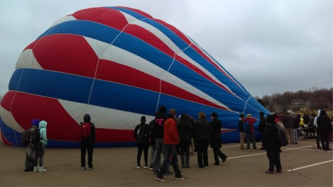 Air America being inflated in the parking lot