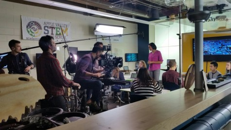 The film crew prepares to shoot in the Fab Lab.