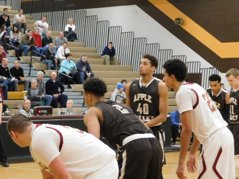 Apple Valley's Cameron Kirksey (40) shoots a free throw against Lakeville South Tuesday night. Kirksey had 27 points.