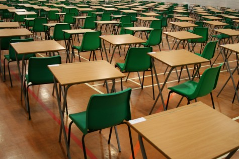 Desks arranged in rows for testing