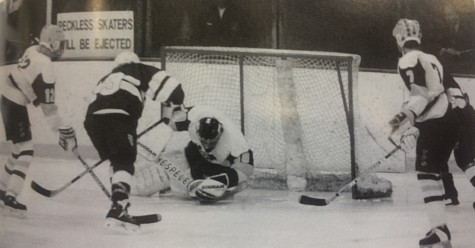 Apple Valley goalie Jenny Jannett makes a save in the 1995 state tournament