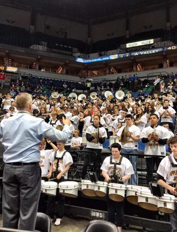 Athletic Band playing for the boys basketball state game