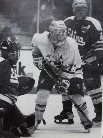 Apple Valley's Chris Sikich camps in front of the net in the 1996 state title game (Photo via Apple Valley yearbook)