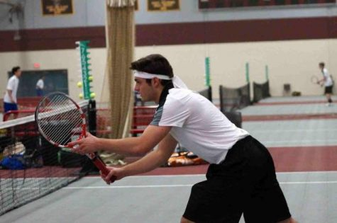 Apple Valley captain Paul Nesseth awaits a volley at the net (Photo courtesy Frank Kelly)