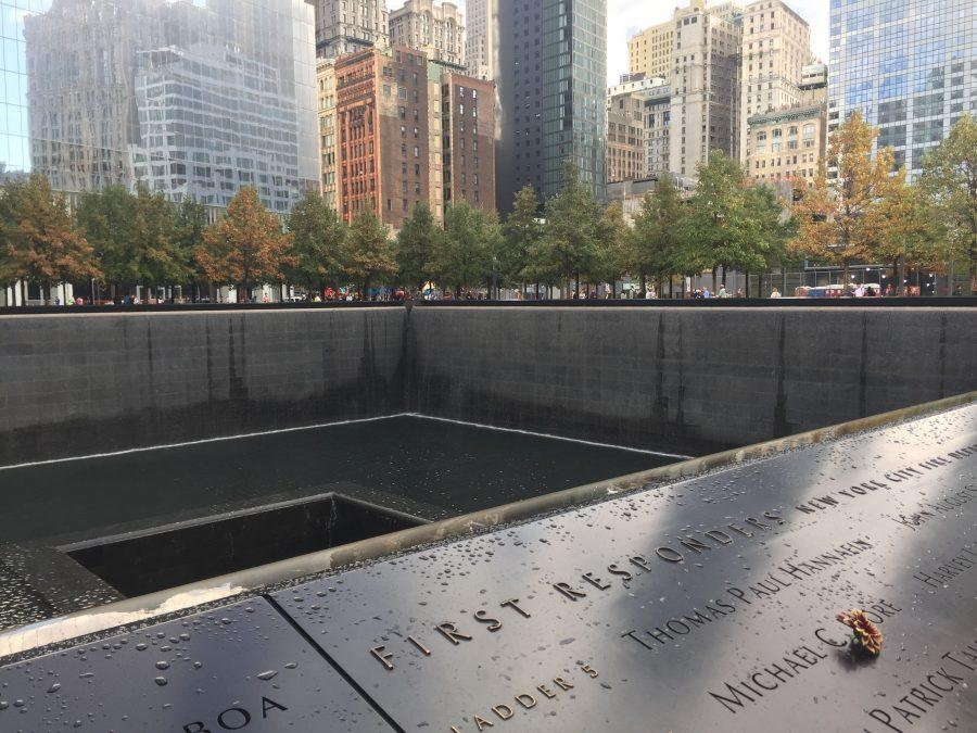 South Tower footprint waterfall and reflecting pool with the names of victims of 9/11 inscribed around the edges