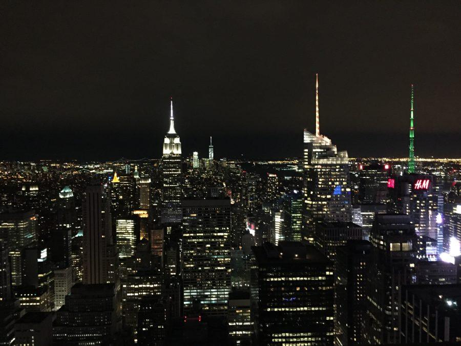 One of the views at the Top of the Rock, including the Empire State Building (left-center)