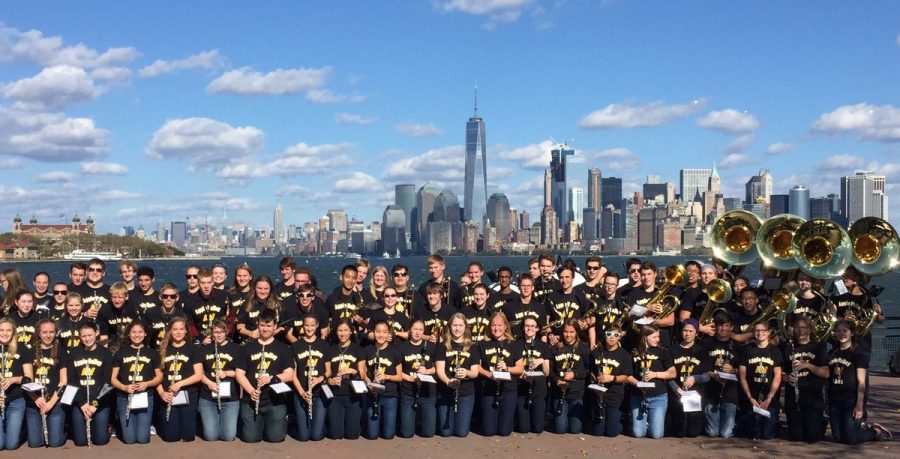 On Liberty Island, the band performed next to the Statue of Liberty with the NYC skyline behind them.