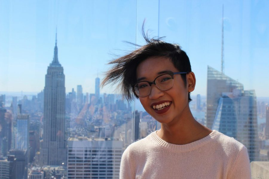 Hair flying and cheesin' at the Top of the Rock!