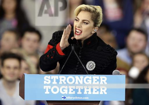 Lady Gaga's actions reflect her words as she speaks during a campaign rally for Democratic presidential candidate Hillary Clinton in Raleigh, N.C.
