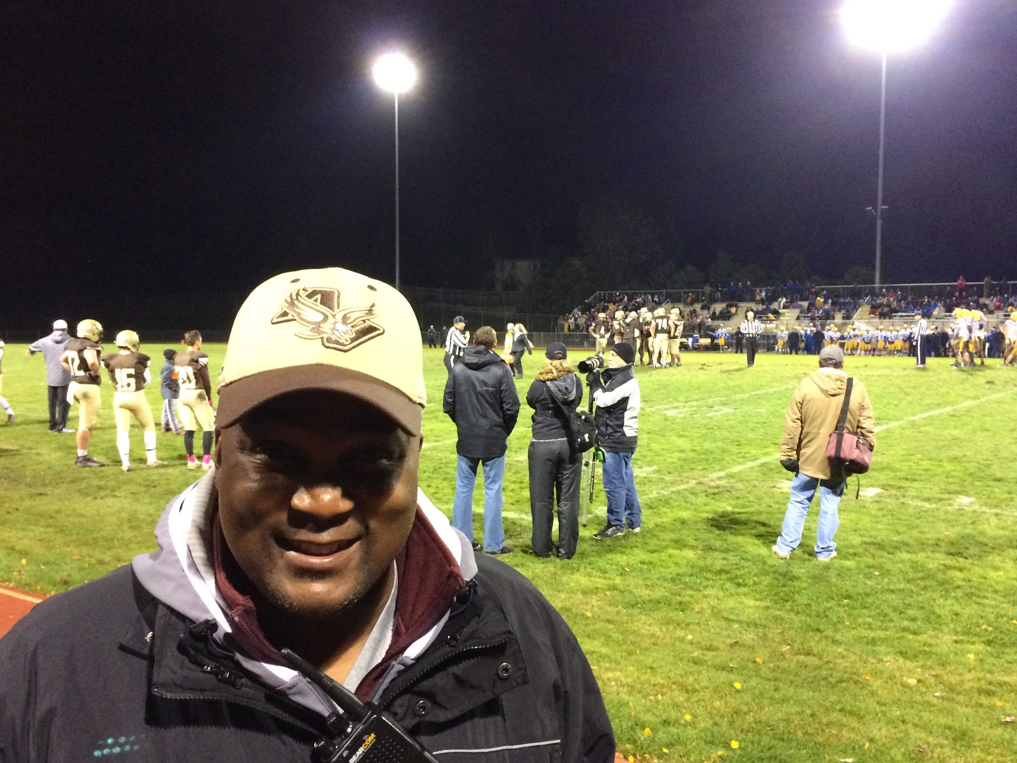 Mr. Jones patrols the sidelines at the Apple Valley-Hastings game.