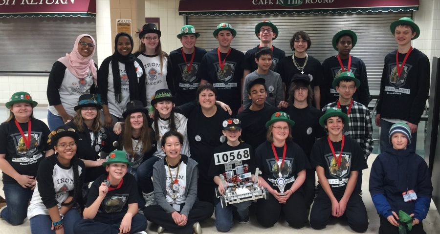 The Iron Maidens, Attack on Robot, and the Regal Kiwis after their competition in Rochester in 2015.