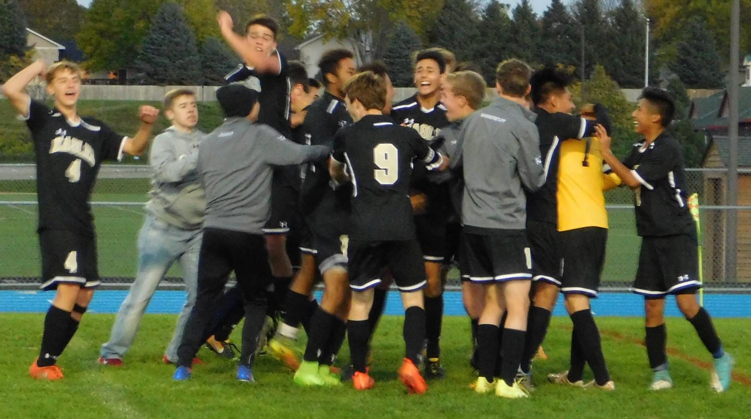 The team celebrates after winning the game.