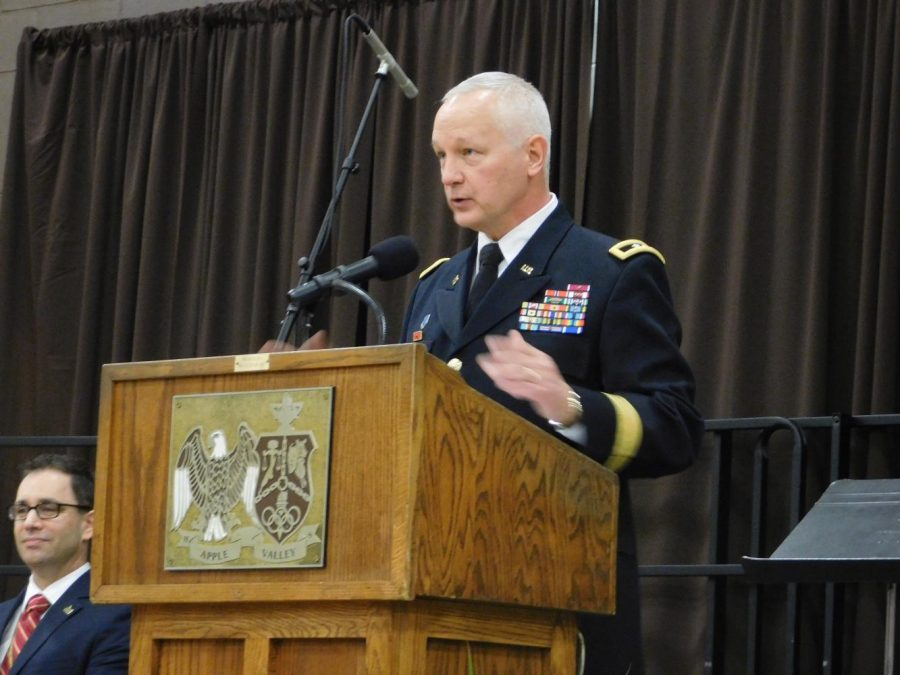 Major General Jon Jensen, active member of the National Guard and AVHS Parent, gives the Veterans Day address.