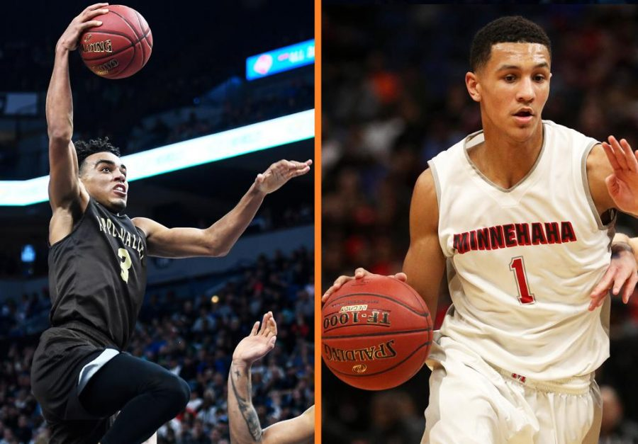 Apple+Valley%27s+Tre+Jones+and+Minnehaha%27s+Jalen+Suggs+squared+off+on+ESPNU+Thursday+night.