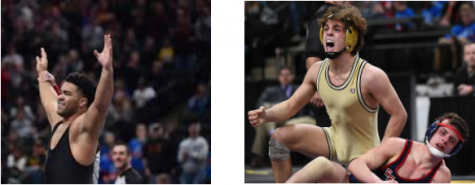 Gable Steveson (left) and Nate Larson celebrate their state titles.