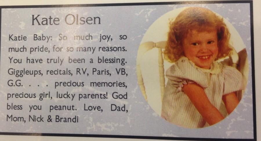 A dedication to Ms. Olson in the yearbook.
