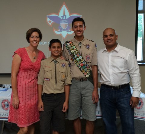 Ethan with his family at the Eagle Scout Awards.