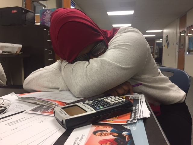 Student falls asleep while working on school work