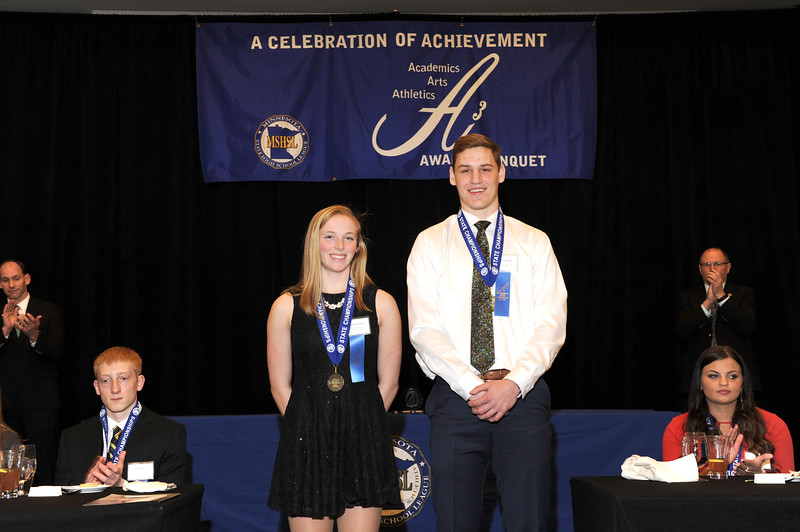 Molly Moynihan (left) and Spencer Rolland (right) at Triple A MSHSL Banquet.
